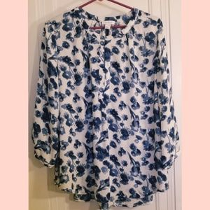 Kenar Navy and White Floral Blouse size Large